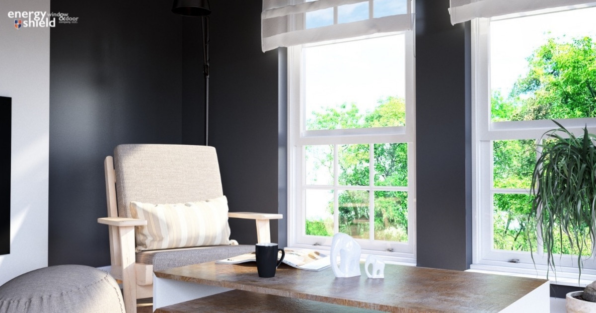 Energy Efficient Durable Single Hung Windows in a Living Room